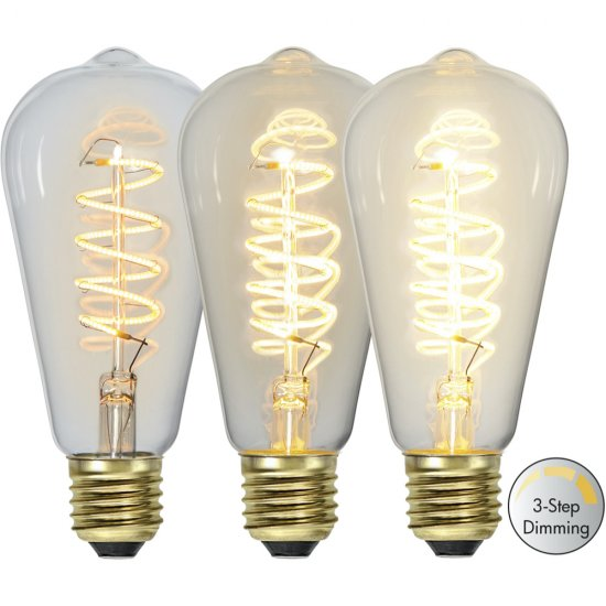 LED-lamppu E27 ST64 Decoled Spiral Clear 3-step